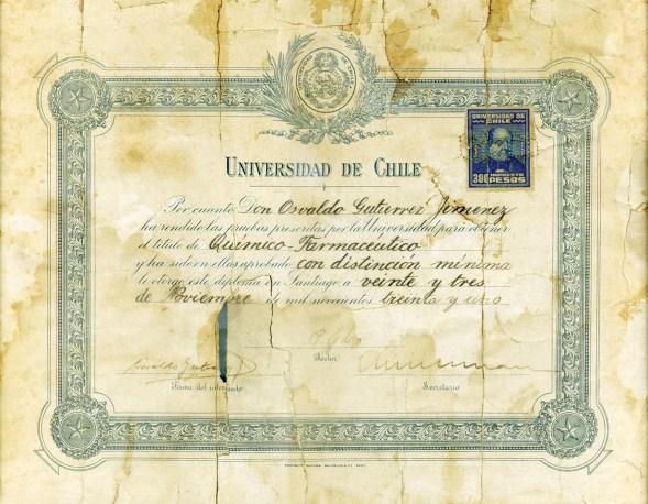 Diploma profesional Osvaldo Gutierrez Gil