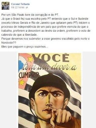 Reprodução da postagem do deputado eleito Coronel Telhada (PSDB) que gerou polêmica