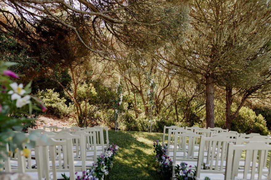 decoração do local da cerimónia do casamento