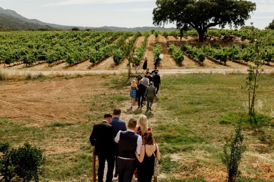 wedding guests walking along the vineyards on a hotel casa palmela wedding