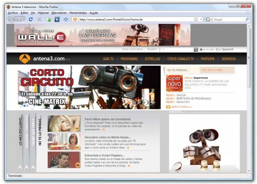 Corto Circuito e Wall·E conviven na web de Antena 3