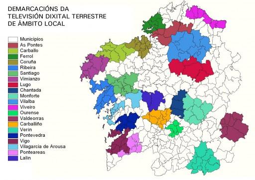mapa de demarcacións de TDT en Galicia