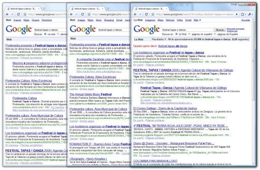 resultados de Google en galego, inglés e español