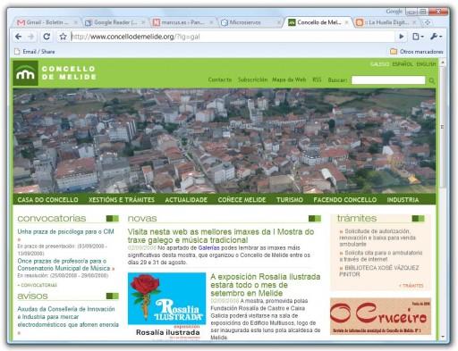 A web do Concello de Melide vista no Google Chrome