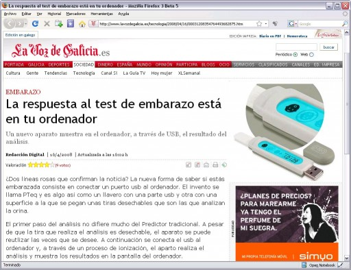 test de embarazo USB en La Voz