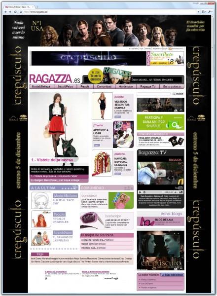 web da revista Ragazza