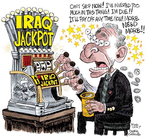George W. Bush xogando ás tragaperras co conflito de Iraq