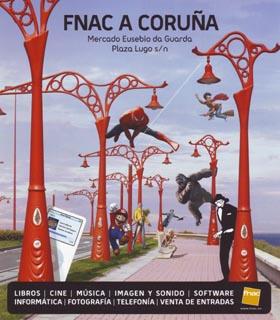 Cartel promocional da inauguración da FNAC na Coruña