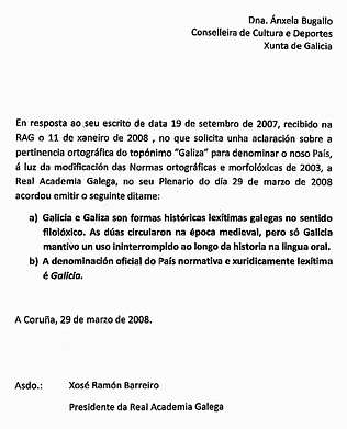 carta confirmando Galicia fronte a Galiza