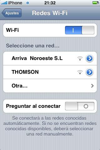 Captura do iPhone comprobando a Wi-Fi dun autobús de Arriva