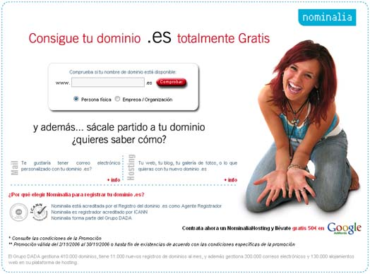 Dominios .es gratis con Nominalia
