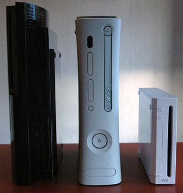 PS3, Xbox 360 e Nintendo Wii postas en vertical