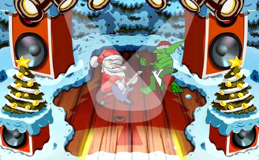 Santa rockanroleando co Grinch