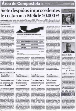 páxina de El Correo sobre os despedimentos no Concello