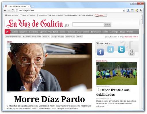 A morte de Isaac Díaz Pardo en La Voz de Galicia