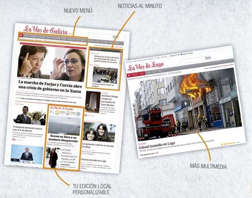 Anuncio da nova páxina web de La Voz de Galicia