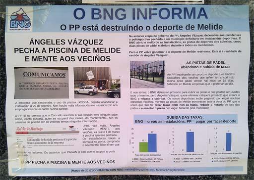 Cartel do BNG sobre a polémica da piscina de Melide