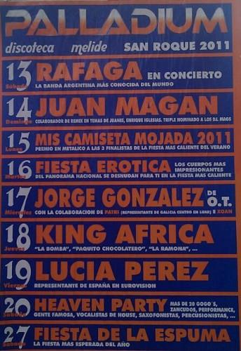 Cartel das actividades da Palladium durante as festas do San Roque en Melide
