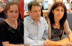 Socorro Cea (BNG), izquierda, Manuel Prado (PSOE) y Ángeles Vázquez (PP), durante los encuentros digitales