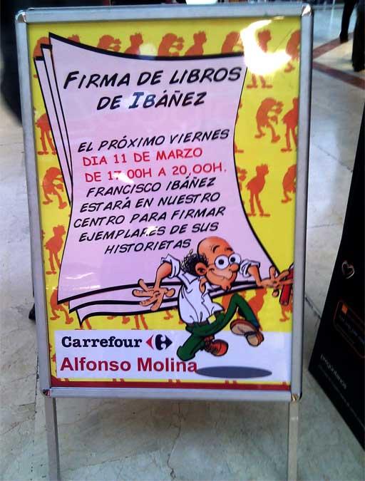 Cartel da firma de exemplares de Ibáñez