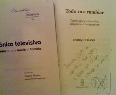 Dedicatorias de Enrique Dans e Susana Alosete