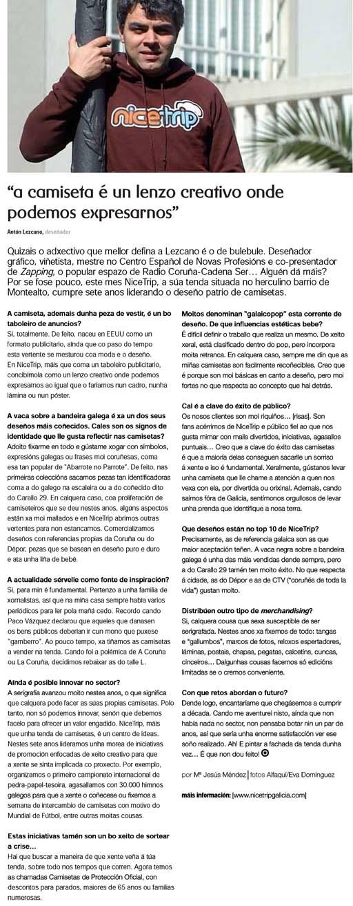 Entrevista a Antón Lezcano na revista de R