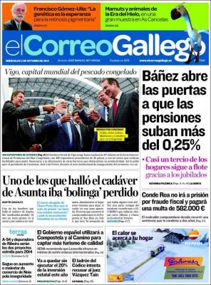 a portada de El Correo Gallego ignorando a Conde Roa