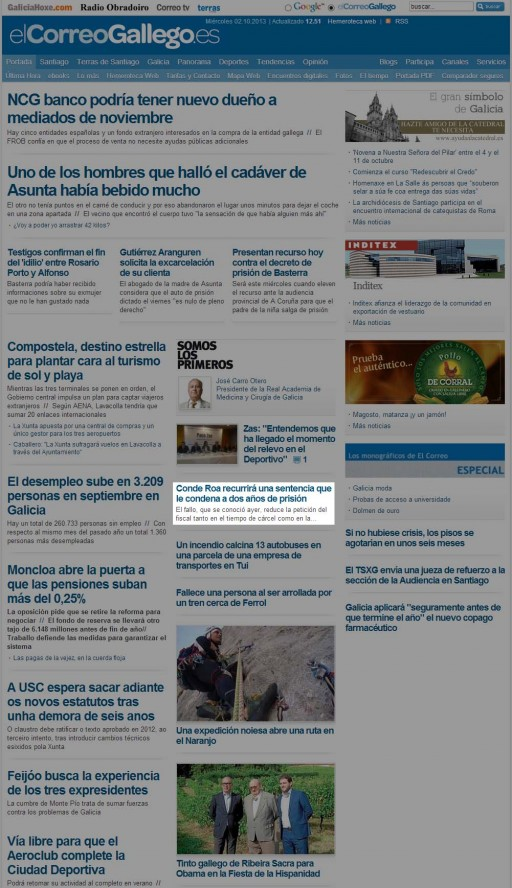 A web de El Correo Gallego tras a súa caída
