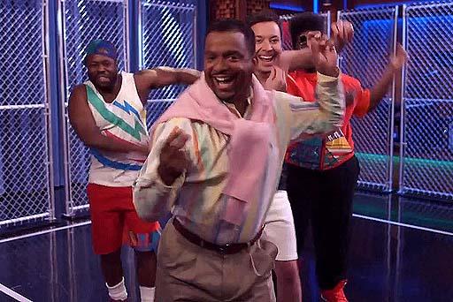 Carlton Banks bailando con Jimmy Fallon
