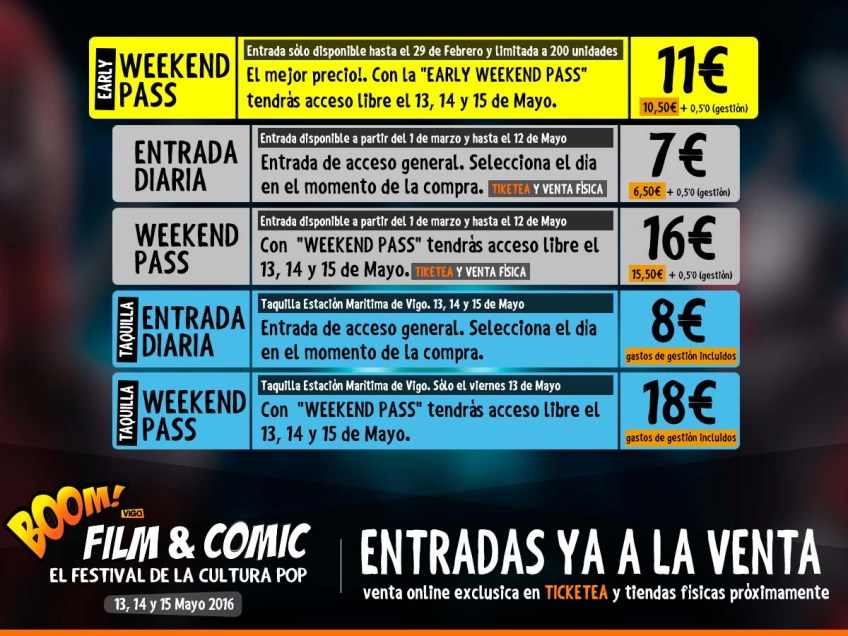 prezos das entradas de BOOM! Film & Comic 2016