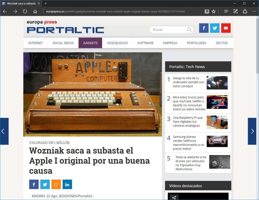 Captura de pantalla de PortalTIC