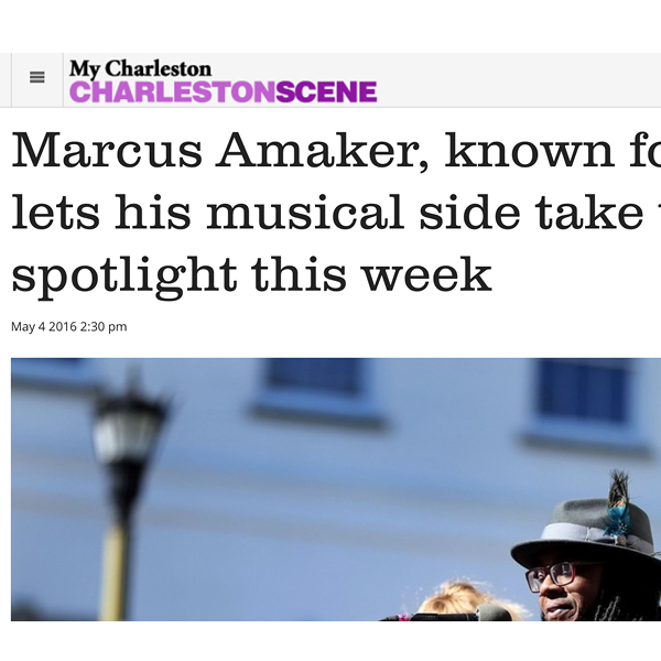 Marcus Amaker, known for poetry, lets his musical side take the spotlight this week Charleston Scene, May, 2016