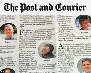 Local leaders describe most precious holiday gifts Post and Courier, December 2014