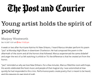 Young artist holds the spirit of poetry Post and Courier, Dec. 2007