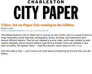 Video: Art on Paper Fair coming to the Gibbes Charleston City Paper, Oct. 2013