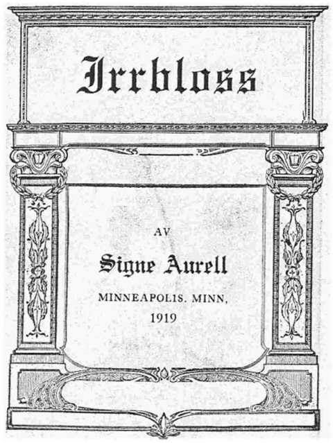 Title page of Signe Aurell's self-published book of poetry from 1919