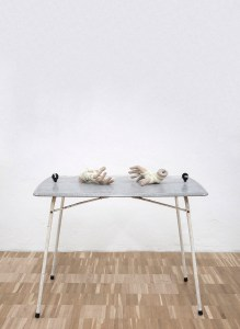 Marcus Kleinfeld, POTENTIAL, 2011 Table, electrical fencing plugs, electrical wire, mannequin hands 75 x 90 x 60 cm (Sculptures)