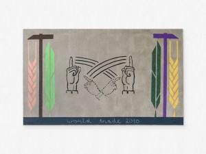 Marcus Kleinfeld, WORLD TRADE, 2010 Oil, crayon, spray paint on linen 120 x 200 cm