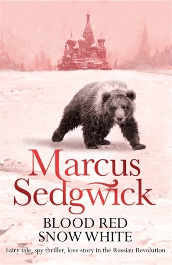 Uk cover of Blood Red Snow White showing bear prowling across snow with Russian church in background.