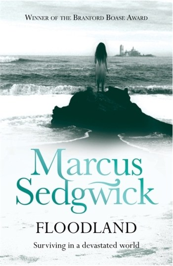 UK cover of Floodland, showing a girl in rags looking across the sea to an island.