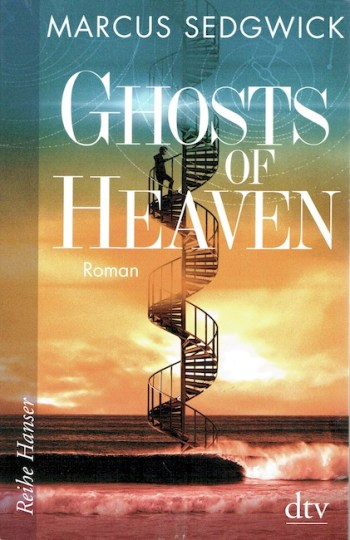 German cover of The Ghosts of Heaven with spiral staircase ascending from sea to sky.