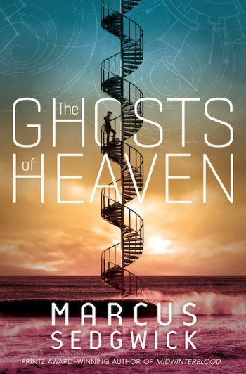 US cover of The Ghosts of Heaven with spiral staircase ascending from sea to sky.
