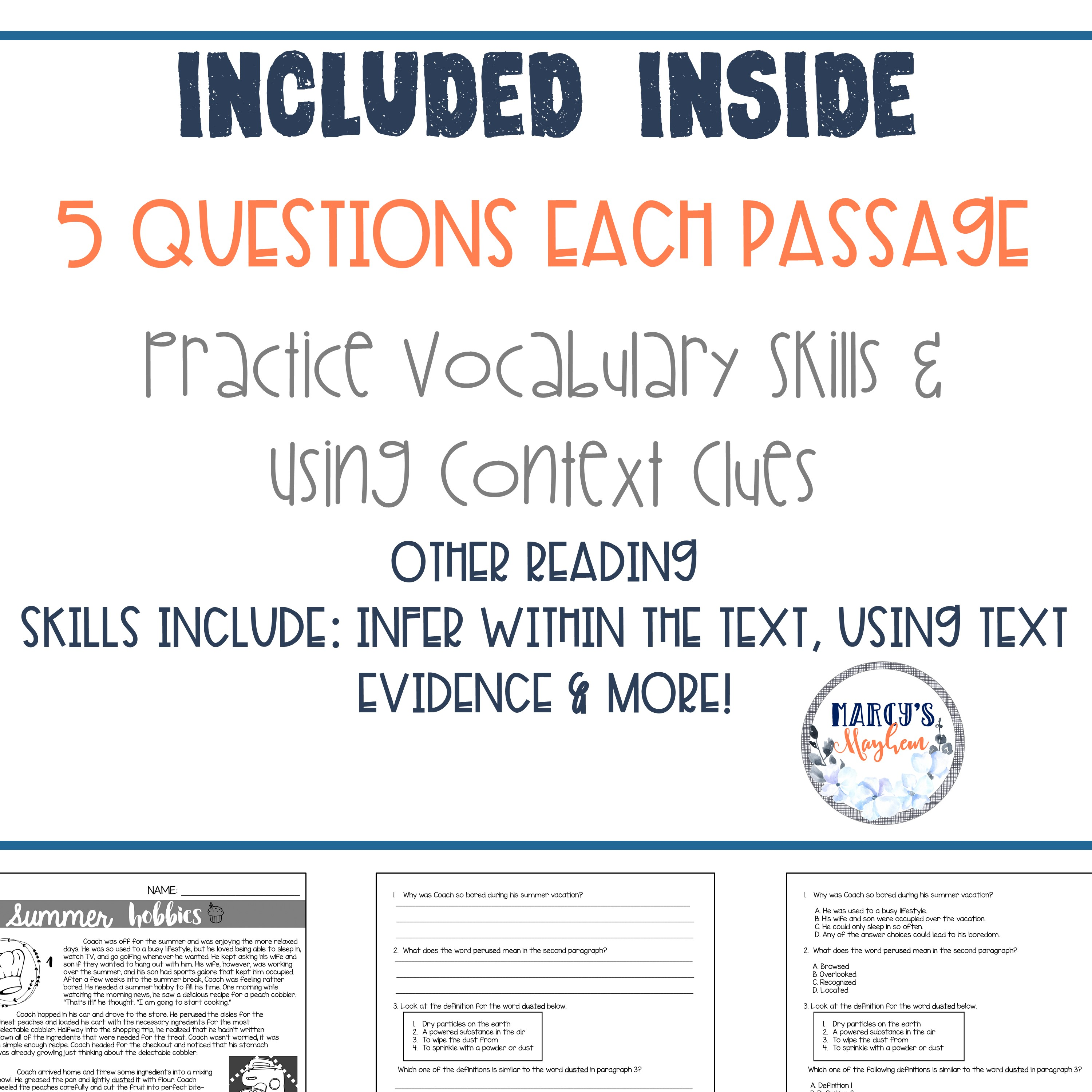 - VOCABULARY & Context Clues Test Prep Reading Passages 4th Grade