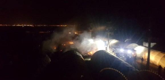 Çadır kentte yangın