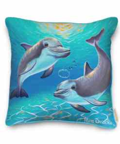 TWO DOLPHINS- CUSHION COVER Maree Davidson Art
