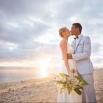 mariage, plage, bouquet, soleil, réunion, bisous,