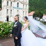 mariage, robe, voile, église,