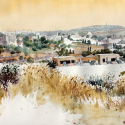 Old City on Chamsin day, 103X67 cm