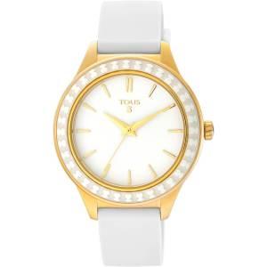 reloj tous straight ceramic 900350375 con caja de acero PVD oro amarillo y bisel de ceramica blanca