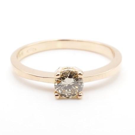 EMA488-1- anillo de oro rosa con diamante talla brillante brown
